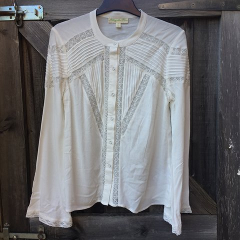499074a11fc54 brand new white blouse with laced detailing and flared arms - Depop