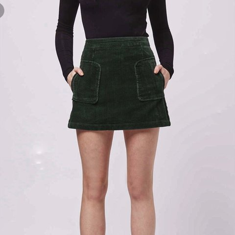 1b728185cee1 Topshop forest deep green cord skirt | high waisted with two - Depop