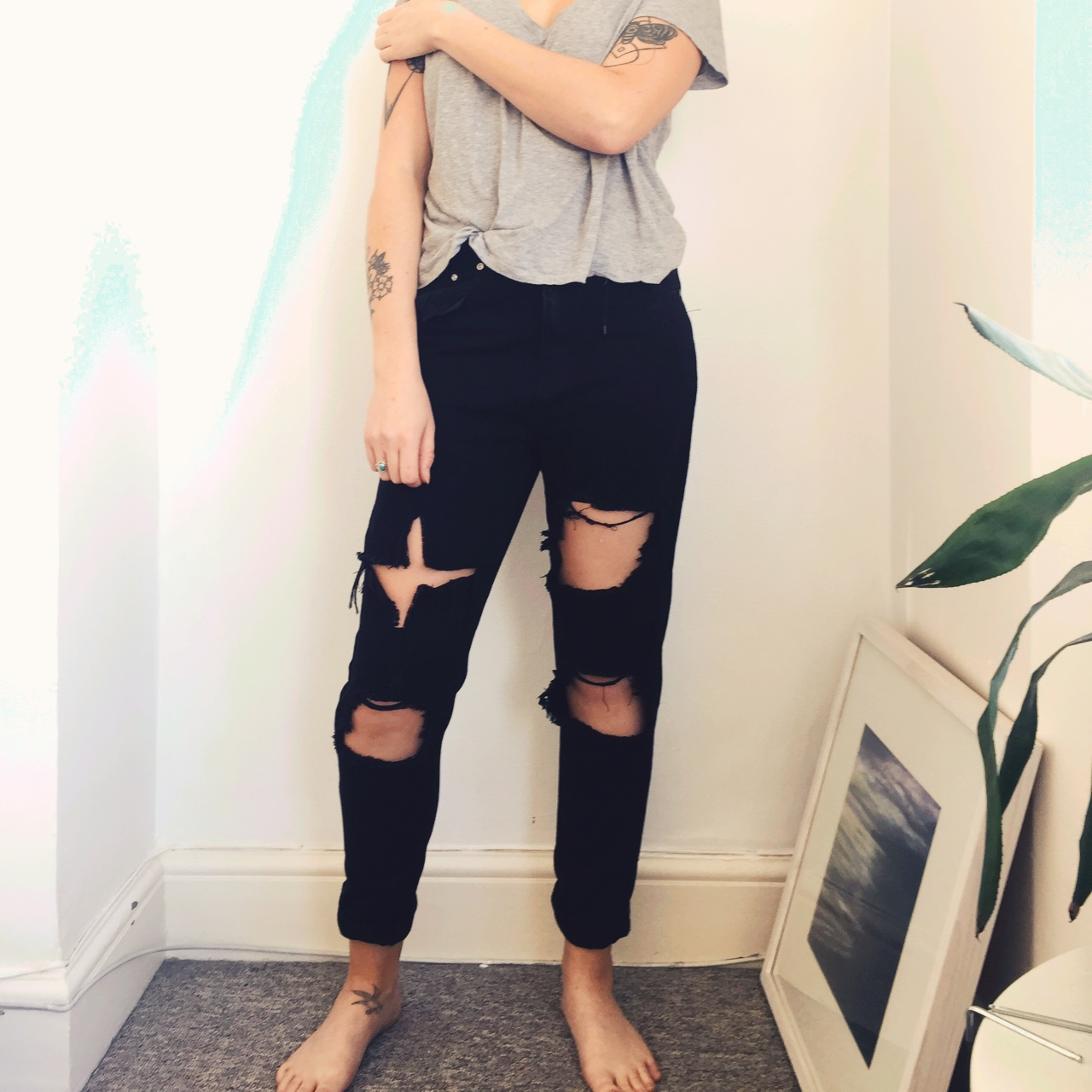 best website coupon code new authentic Ripped black jeans from boohoo, loose fitted with... - Depop