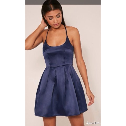 5a119d4790 satin backless navy blue skater dress from Bought for a and - Depop