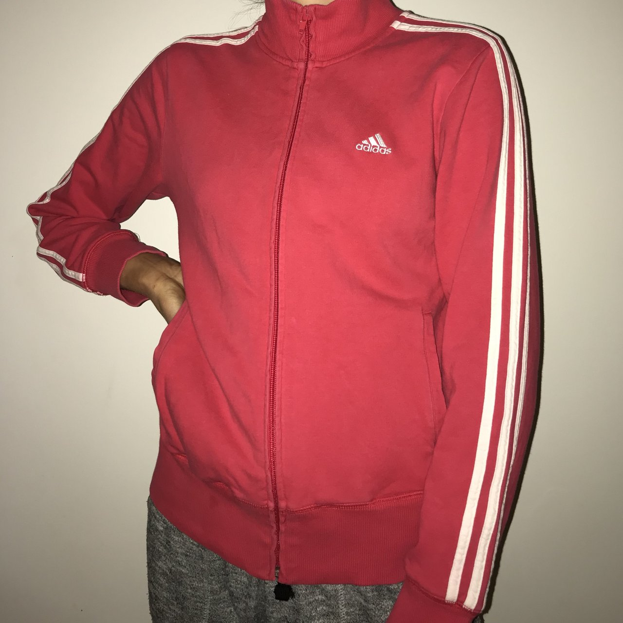 072b283f1fbf Pinky red adidas jumper jacket!! Size 10 Amazing and on - Depop
