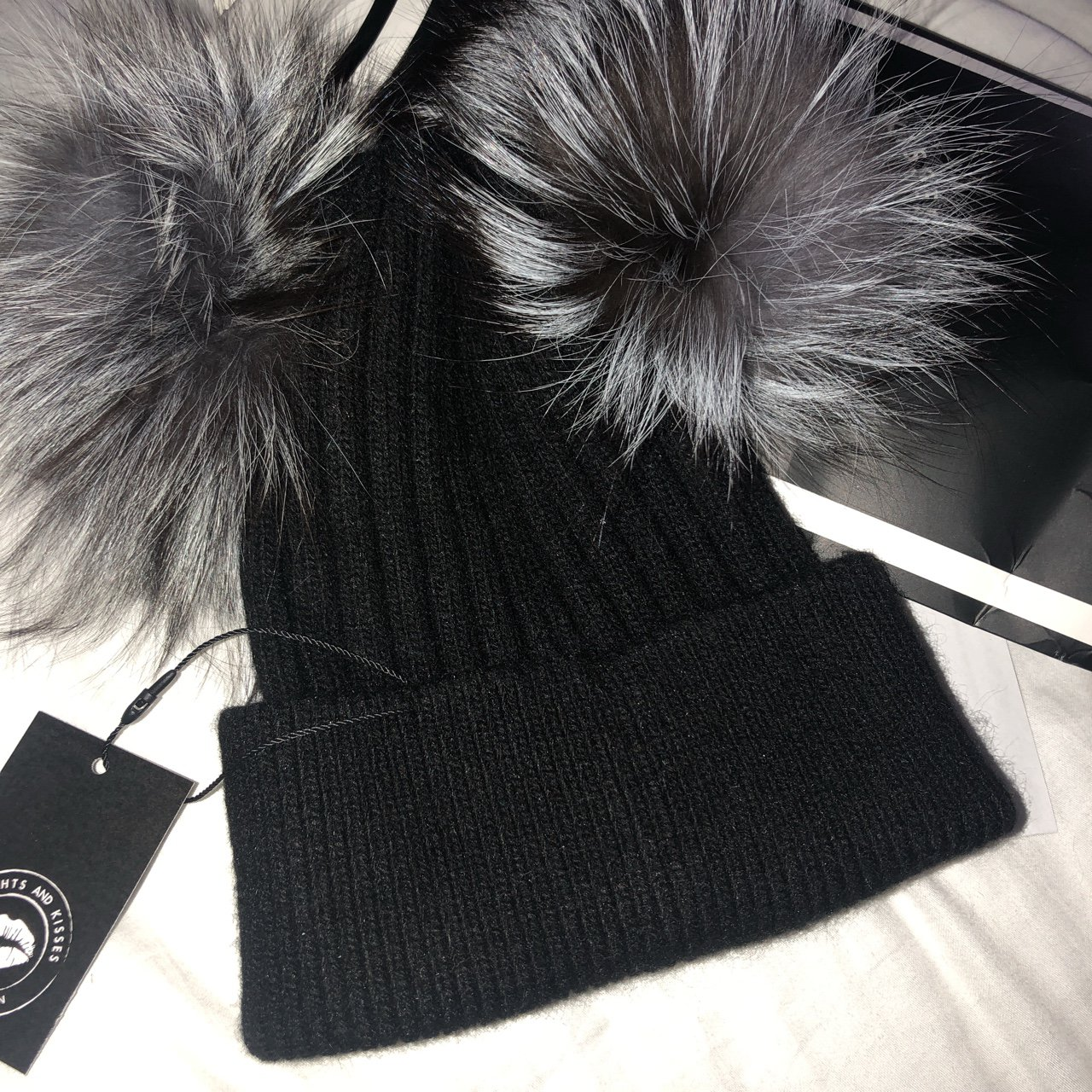 13c839258a9 Noughts and Kisses double bobble hat. Real fur. Black with - Depop