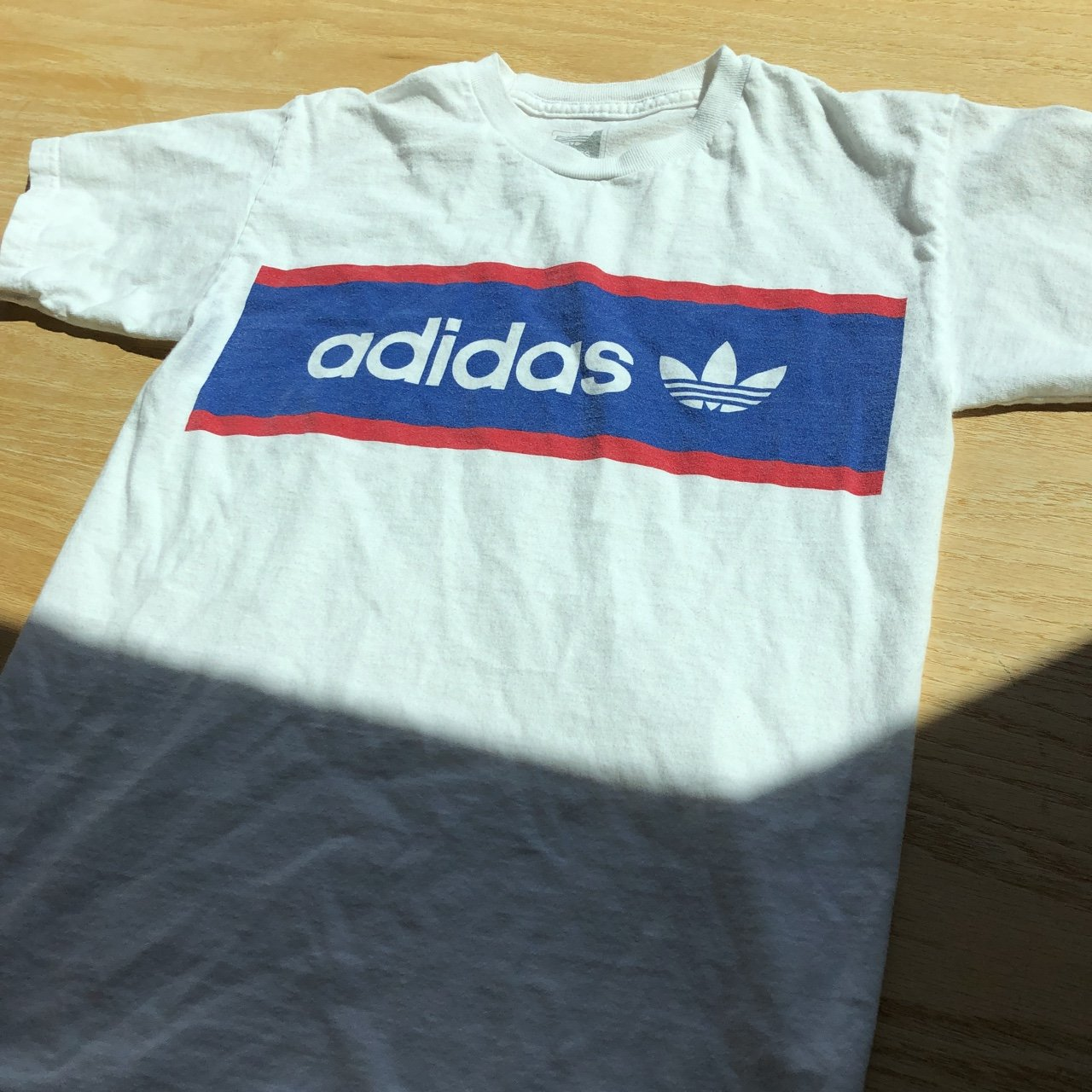 48e73d750695 Adidas trefoil logo red white and blue tee - worn