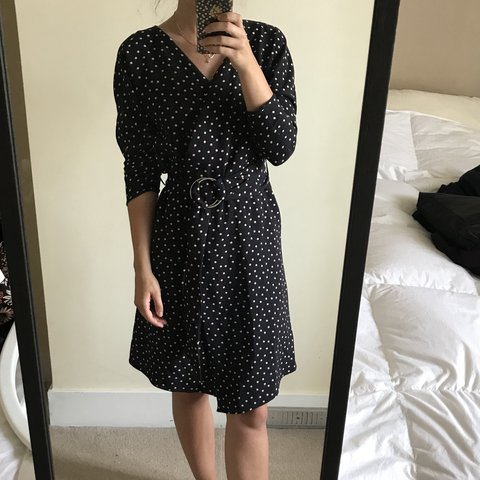 ecae9027 @bellahancock. last year. Kingston upon Thames, United Kingdom. Zara navy  blue polka dot wrap dress with big silver hoop ...