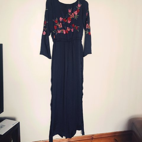 698c4efba5e0 Long navy jumpsuit with floral embroidery