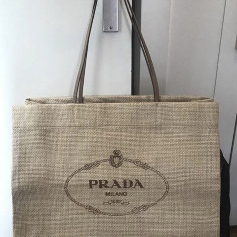 2cbeb64a2c8d @lacristinese. last year. The Hague, Netherlands. AUTHENTIC PRADA LARGE  RAFFIA TOTE BAG in very good ...