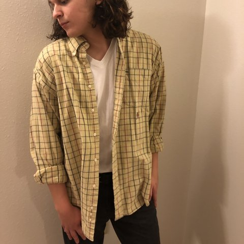 1f58d347 @dmurr. 3 hours ago. Flint, United States. VINTAGE TOMMY HILFIGER YELLOW FLANNEL  SHIRT. Tag size is men's large.