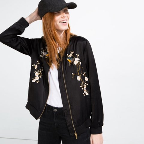 6b95a66f0e ZARA Embroidered bomber jacket size S. Barely worn and  zara - Depop