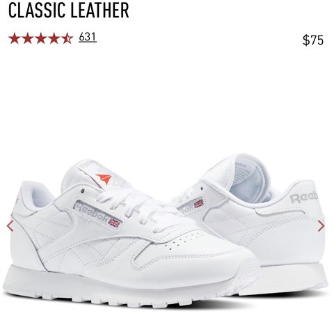 40d0f0fae702b Reebok classic leather all white sneakers size 6 women