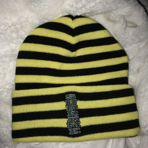 a77b3431664 rare supreme beanie neon yellow and black striped with n - Depop