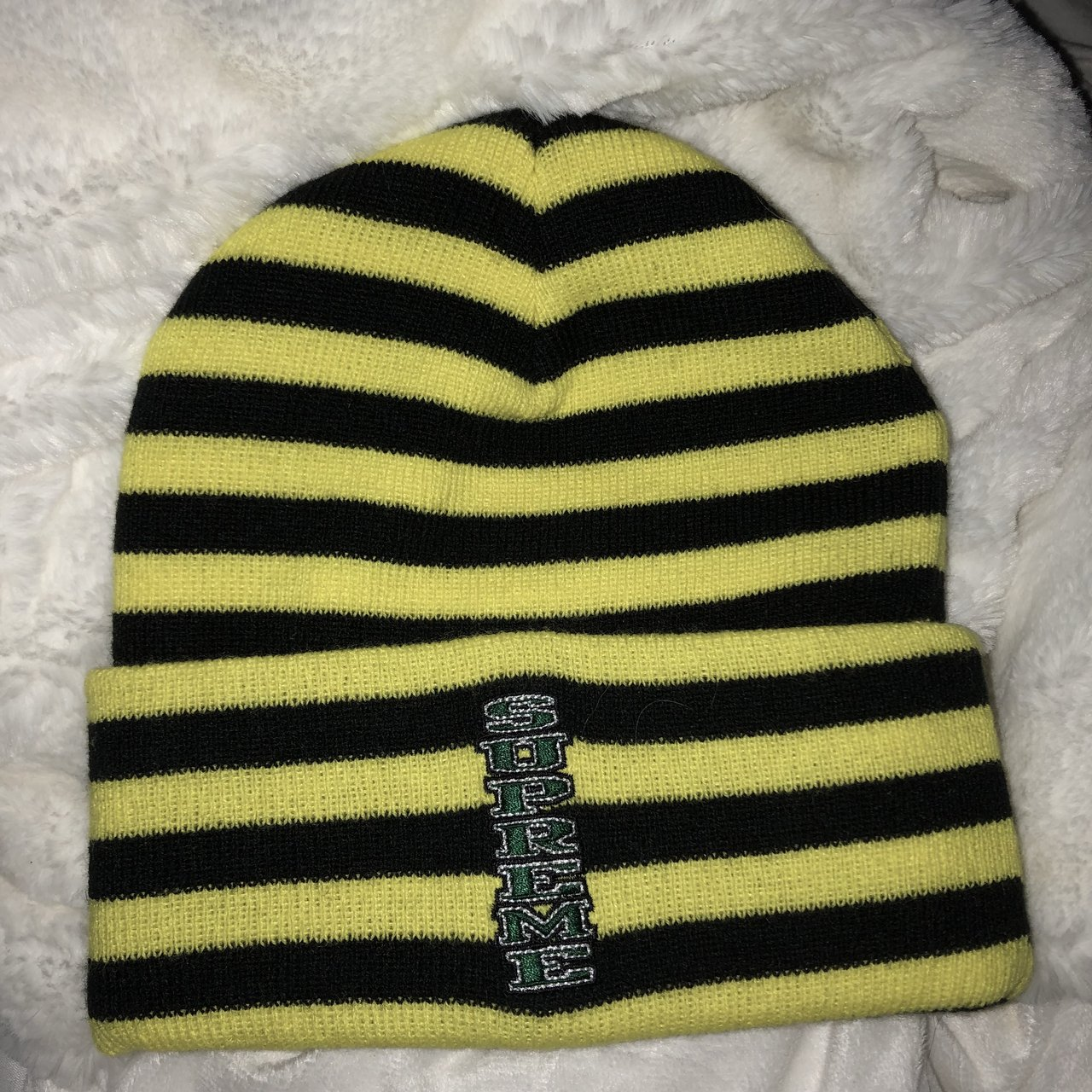 rare supreme beanie neon yellow and black striped with n - Depop 047c2a2df06
