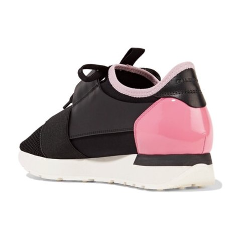 f8df7e46b9d3 Balenciaga runners. Black with Patent pink at the back. but - Depop