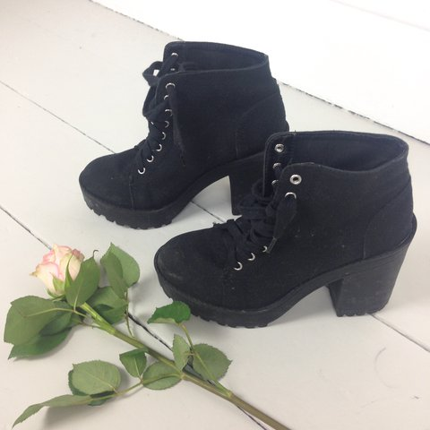 cd67f460f6e5 Chunky black lace up 90s heeled ankle boots with those These - Depop
