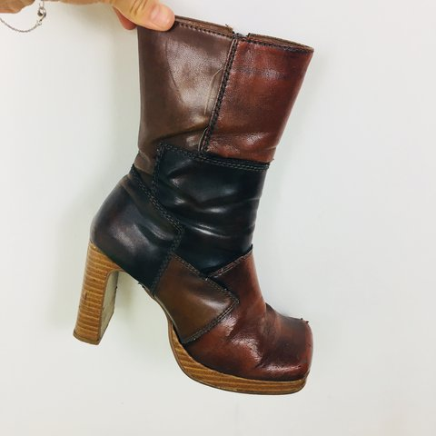 d06cd3df8e78 The funkiest brown patchwork 90s-does-70s platform boots and - Depop