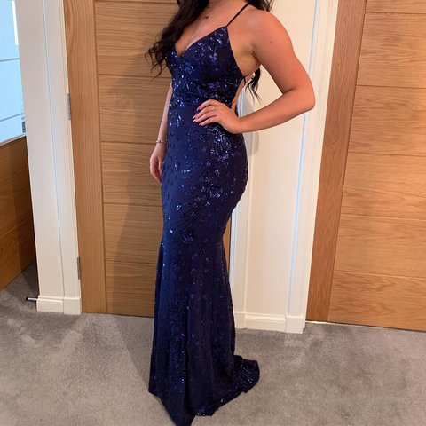 7fbf39aa66 ❤️Navy Sequin Cross Back Fishtail Maxi Dress❤ ~ RRP selling - Depop