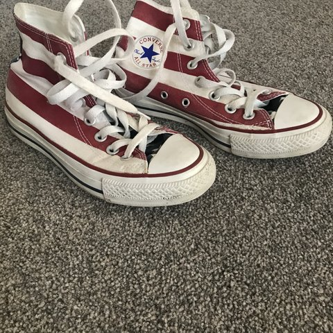 209198df115 Size 3 converse in American flag print. Hardly worn in good - Depop
