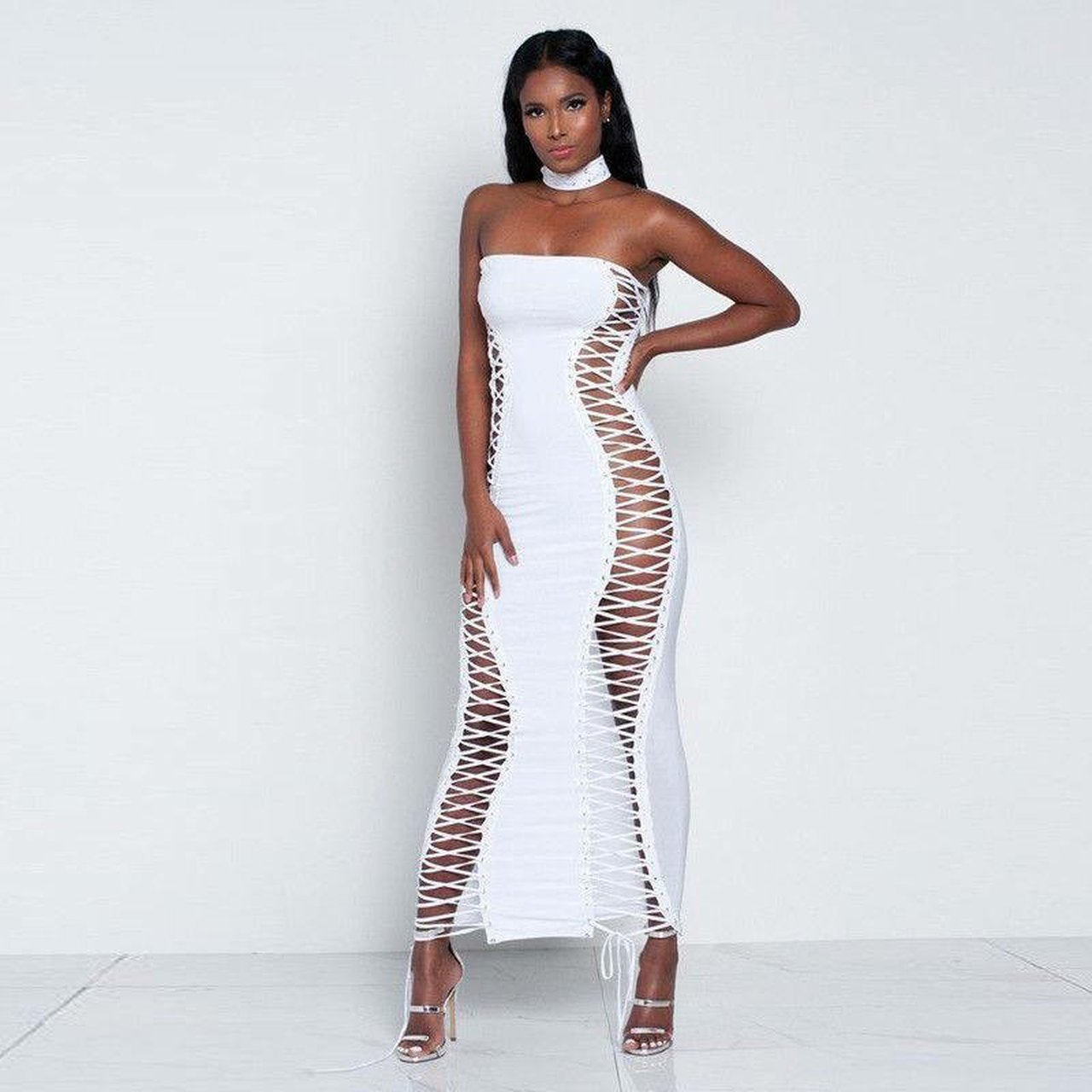 da4170788a Black and white lace up strapless boob tube maxi dresses in - Depop
