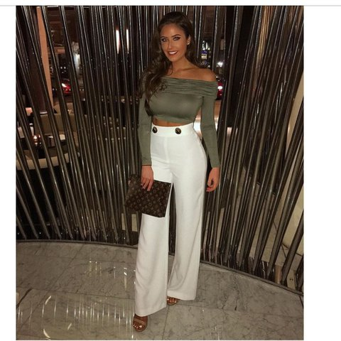 4fb7b599f80 @gemceegee. last year. Walsall, United Kingdom. ✨Missguided Khaki ruched  Bardot crop top