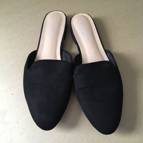 2194b23bdef4 Black faux suede flat mules. Comfy for the office and with - Depop