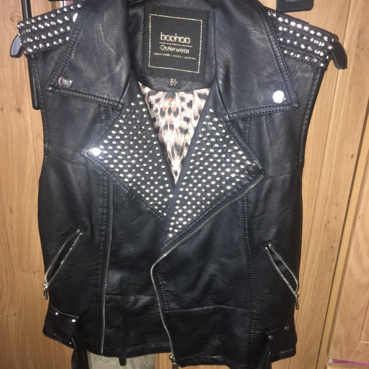 10091c14819db Black faux leather biker jacket , never Missguided, OhPolly, - Depop