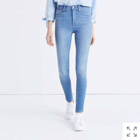 """c1b35b2a589 These are the madewell 10"""" high-rise skinny jeans in hank so - Depop"""