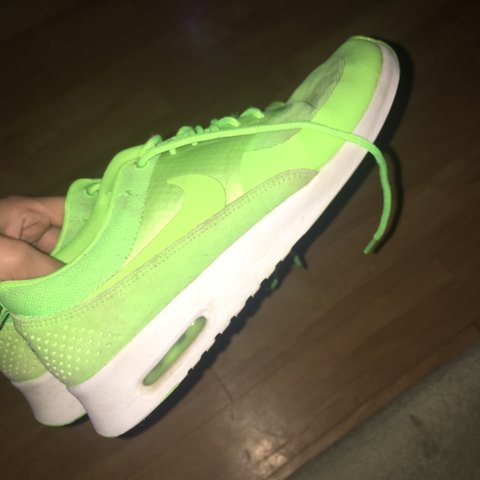 Lime green Nike air max Thea s Size 5.5 worn but still in - Depop 8db519781