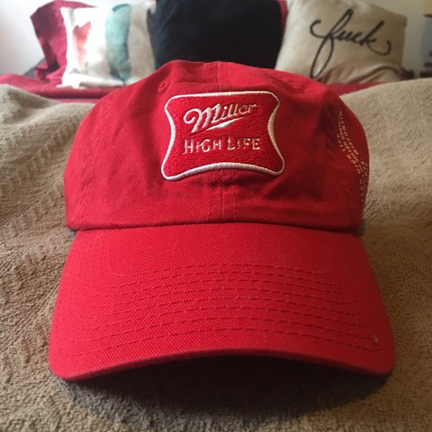 5f10e0293cb7c Vintage Red Miller High Life Baseball Hat Velcro Adjustable - Depop