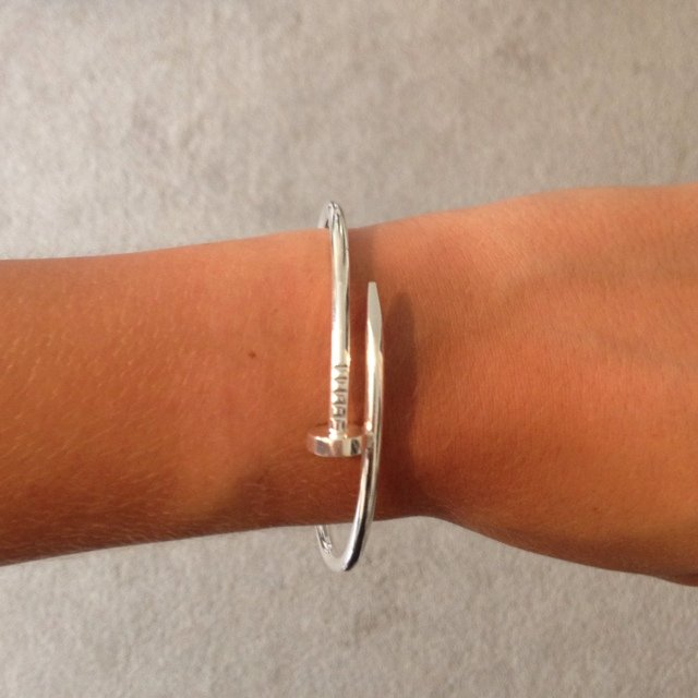 Cartier nail bracelet replica. Silver, joins at nail head ...