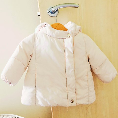 312855713f3d Light pink Zara baby girl puffer coat with fur lined hood is - Depop