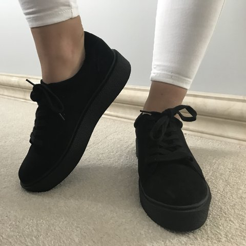 989967248 Black velvet trainers that are perfect for casual wear or an - Depop