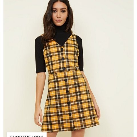 f48c58cebe9c Yellow and black checkered dress from newlook never worn but - Depop