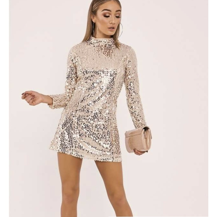 In The Style Long Sleeve Gold Sequin Dress Perfect Depop
