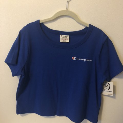 e604ae1d @diana12913. last month. New York, United States. Champion heritage tee  cropped size medium in blue.