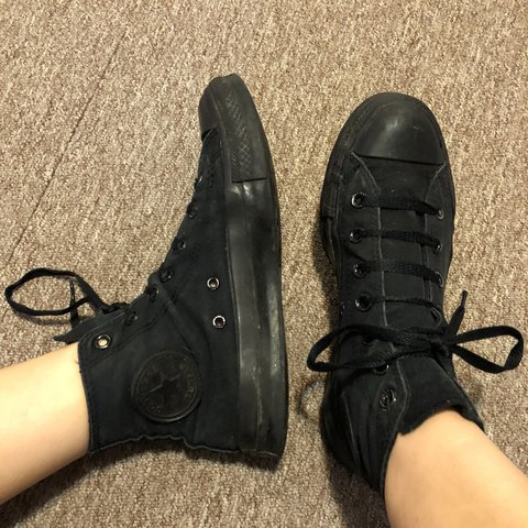 39c6f13104b ... inexpensive all black high top converse all stars womens 8 mens 6 depop  b7e9b eca78