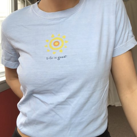 97d1b269 @makayyylllaaa. 11 months ago. Wolcott, United States. Life is good baby  blue graphic tee shirt with yellow sun ...