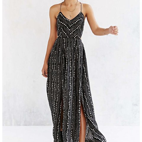 33c6e072eb4 Urban outfitters maxi dress Black and white scrappy maxi tag - Depop