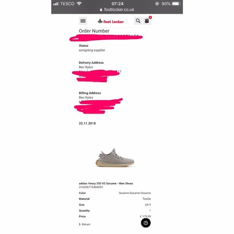 7dd6222d904ba Yeezy Boost 350 sesame Size 9 UK Bought from footlocker and - Depop
