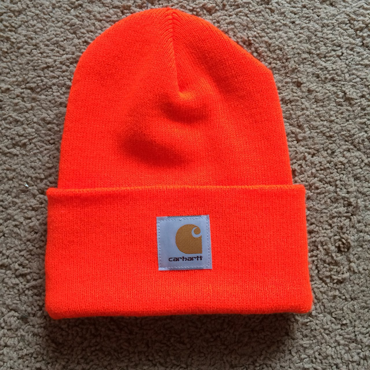 Neon orange carhartt beanie! Brand new condition and never - Depop 3afec94ad83