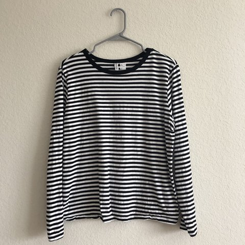 817e88576 @relck. 5 months ago. Houston, United States. black and white striped long  sleeve shirt 👻 size women's ...