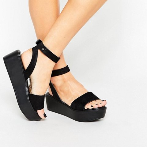 081753631d7 ASOS talia black flatform wedge sandals never worn only on - - Depop