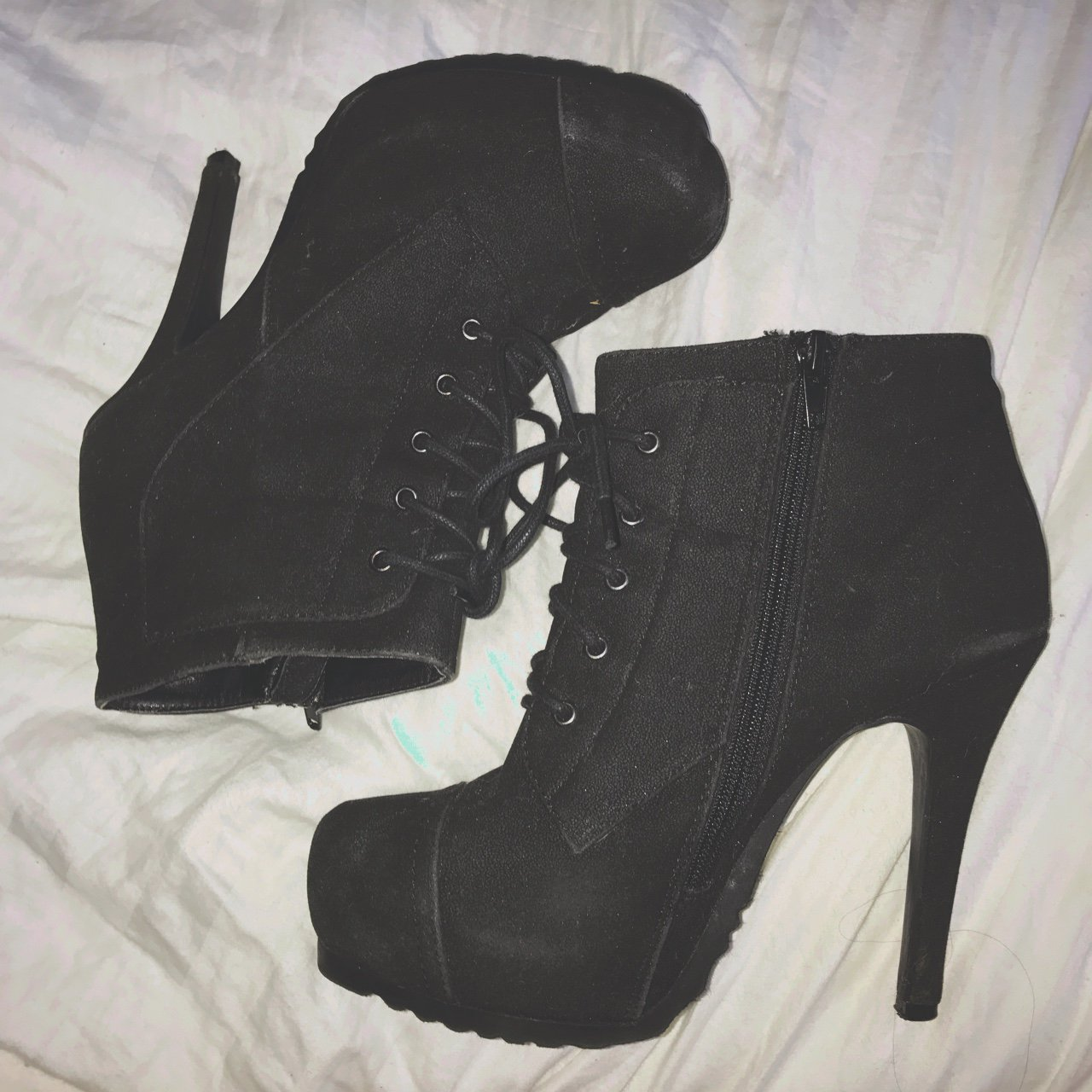 Cute black booties! Only worn for graduation!  heels  baddie - Depop 7c89371ee638