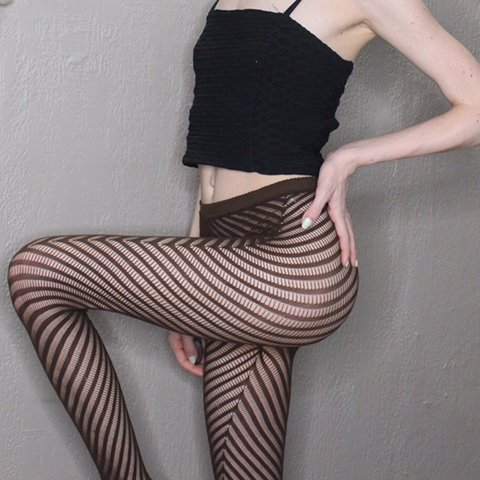 3d07c8d13e3 Brown Pattern Fishnet Tights Size extra small  small By the - Depop
