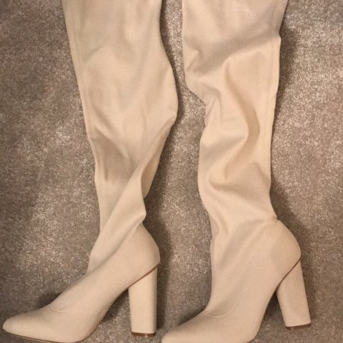 6b0800138e0 MISSGUIDED cream  pointed toe neoprene over the knee boot  5 - Depop