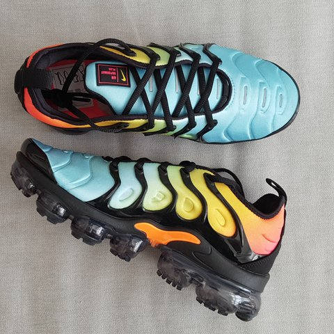 dcb3f61a16348 NIKE AIR VAPORMAX PLUS AQUA TROPICAL SUNSET ALL SIZES BRAND - Depop