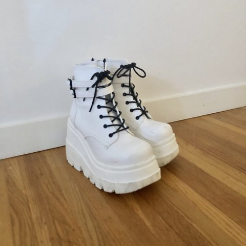 "65964a12ff89 Dolls Kill - Demonia Pure Technopagan Boots - Vegan 4.5"" - Depop"