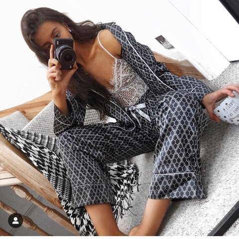 A gift from the gods Black Geo Satin Pyjamas brand new only - Depop 915f093d4