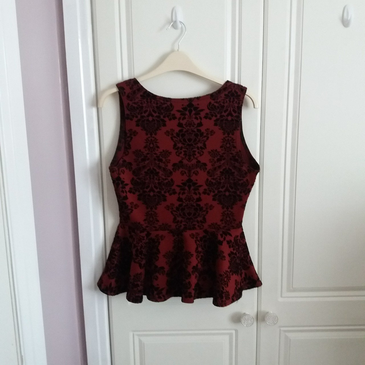 f7038acfa35e Red and black peplum top. Size 14, good condition, soft in a - Depop