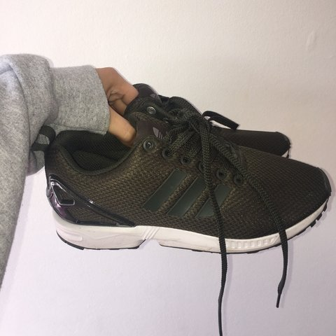 38f50fb109108 CUSTOMISED Khaki Adidas ZX Flux Worn once Size 6 (fits more - Depop