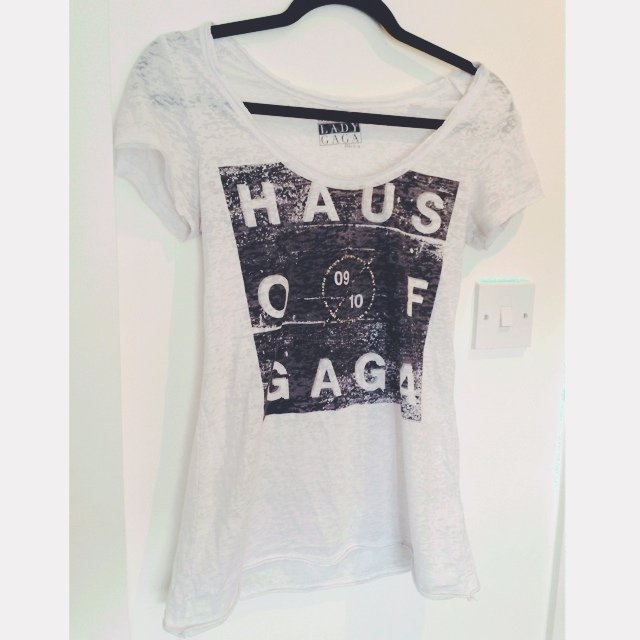 White Lady Gaga T Shirt Size 8 Worn A Couple Of Times Depop