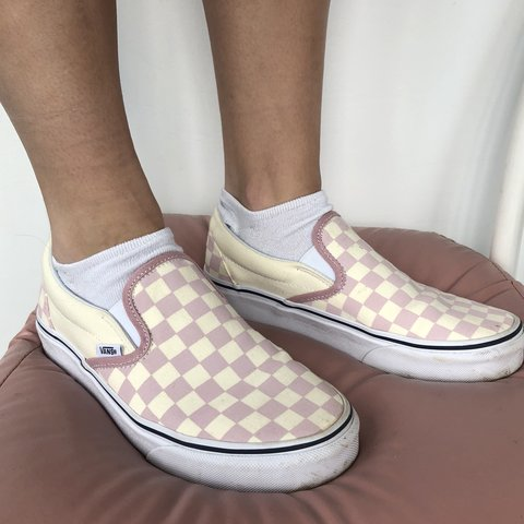 21776d717678 Light pink  off white checkered slip on vans. These are so   - Depop